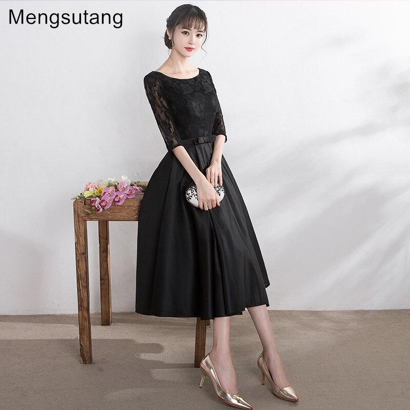 Robe de soiree 2017 Black Tea Length O Neck lace up evening dress Party Dresses prom