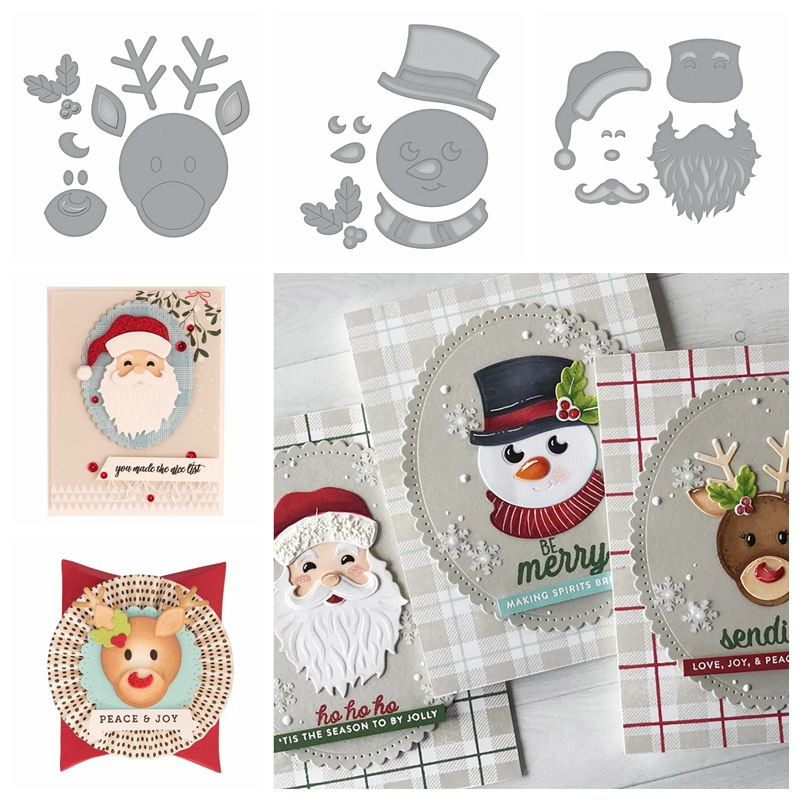 Metal Cutting Stencils Dies Snowman Scrapbook-Decor Embossing-Craft Moose Christmas Santa-Claus