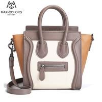 Stylish Patchwork Handle Shoulder Bag Split Leather Women Handbags High Capacity Crossbody Bags For Women 2018