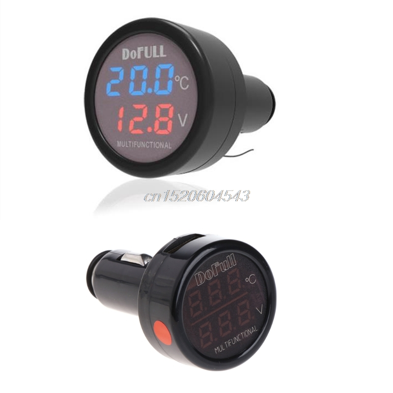 3 in 1 Multifunction Car Digital Voltmeter USB Charger LED Battery DC Voltage Thermometer R09 Drop ship new 3 in 1 digital led car voltmeter thermometer auto car usb charger 12v 24v temperature meter voltmeter