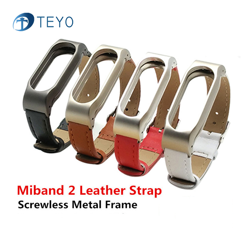 Teyo Xiaomi Mi Band 2 Bracelet PU Leather Strap For Mi Band 2 Pulsera Bracelet Metal