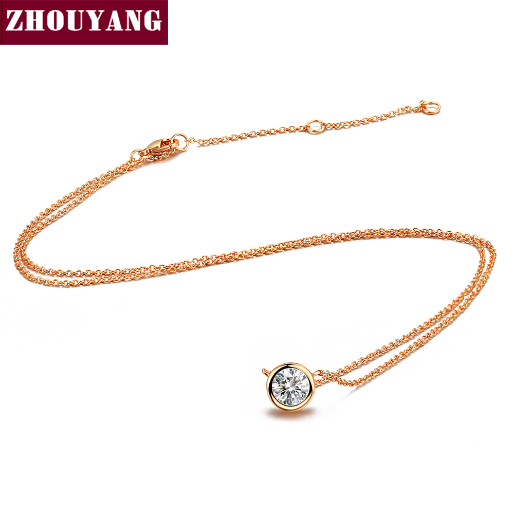 Top Quality Simple Style One Crystal Pendant Necklace Rose Gold Color Fashion Jewellery Crystal ZYN388 ZYN453 ZYN454 ZYN455