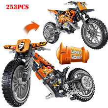 Technic Off-road Motorcycle Vehicle Cross Bike Building Blocks Compatible Legoed Enlighten Bricks Toys For Child Christmas Gifts(China)