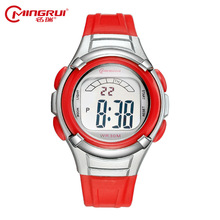 Children Sports 30M Waterproof Wristwatch Kid Rubber Strap Date Alarm Stopwatch Digital Analog Double Display jelly girl watch
