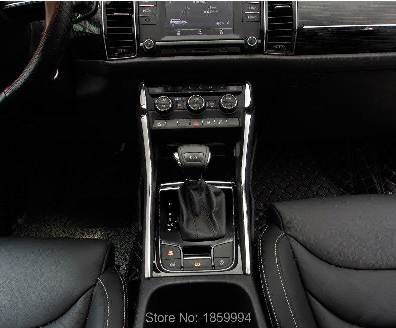 Pour SKODA KODIAQ 2016 2017 2018 Console de changement de vitesse panneau côté garniture Chromée couverture de protection décoratif bandes de voiture 2 pcs/lot