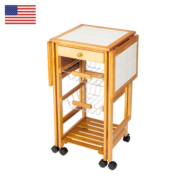 rolling cart for kitchen small carts on wheels islands portable folding tile top drop leaf storage trolley furniture pine wood trolleys