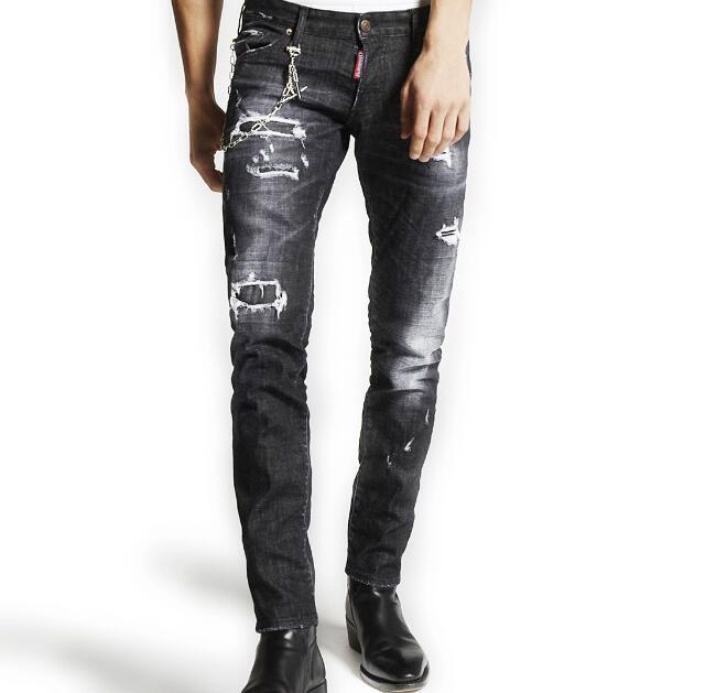 2018 nueva llegada de los Hombres Elegantes agujeros Jeans de moda Jean recto Masculino
