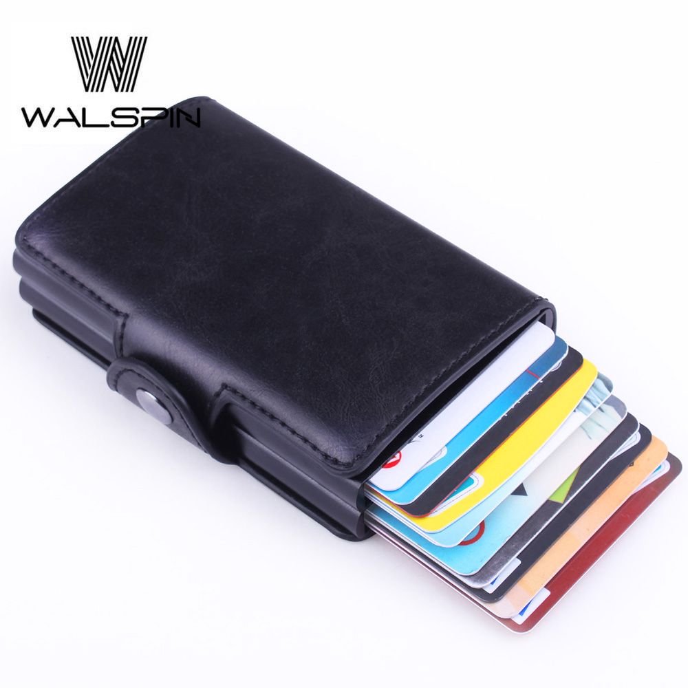 Slim Wallet Card-Holder Money Purse Credit-Card RFID Women Aluminum Blocking Upid Automatic-Pop