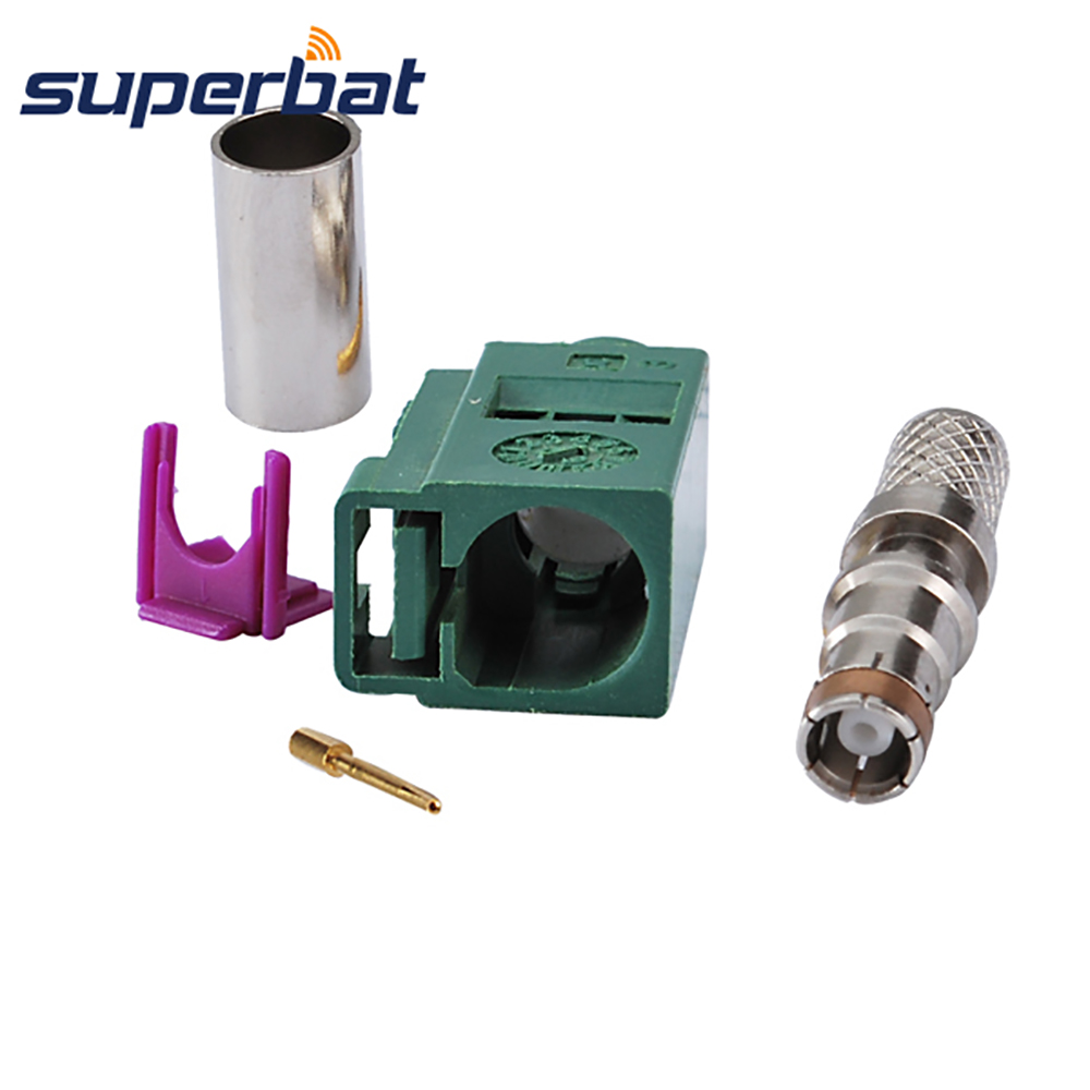 Superbat Fakra E Green /6002 Car TV1  Female Jack Crimp For Coaxial Cable LMR195 RG58 RF Connector