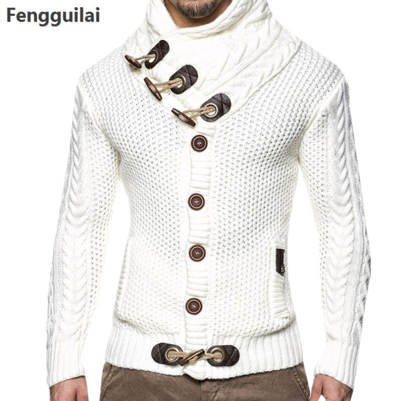 Autunno di Modo di Inverno Casual Cardigan Cappotto Del Maglione Da Uomo Loose Fit 100% Terylene Caldo Vestiti di Lavoro A Maglia del Maglione Cappotti Degli Uomini 4xl