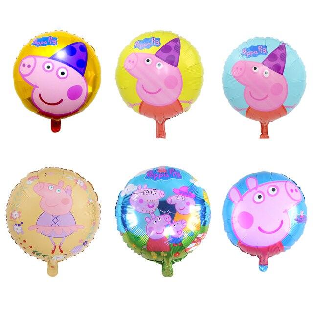 Peppa Pig Foil Balloons Brinquedos Figura 18 polegada Porco Dos Desenhos Animados Handheld Globos Quarto Decorações da Festa de Aniversário Crianças Brinquedos Peppa Pig