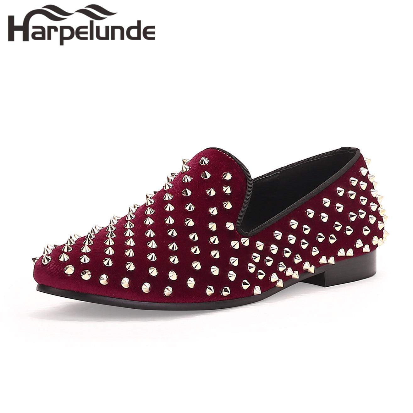 Harpelunde Män Red Velvet Loafers Handgjorda Spikes Flats Skor Storlek 6-14