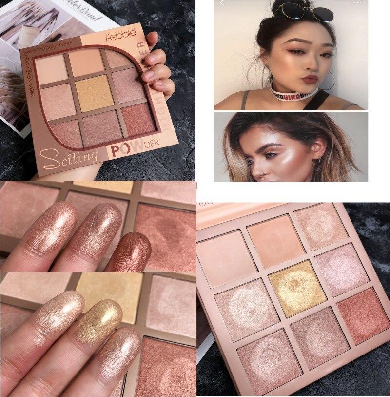 9 colors Highlighter Shimmer and Shine Lips Face Bronzer Highliter Glow Kit Countour Makeup Highlight Iluminador Maquiagem