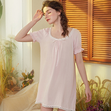 Roseheart Women Fashion White Cotton Sexy Sleepwear Round Neck Nightdress Lace Nightwear Sleepshirts Nightgown Night