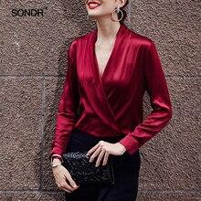 SONDR Patchwork Summer Blouse Womens V Neck Long Sleeve Slim Shirt Tops Female Big Size Fashion 2018 Elegant Clothing OL