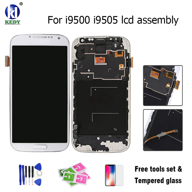 KEDY Compatible For Samsung Galaxy S4 IV GT-I9500 I9505 LCD Display With Touch Screen Digitizer Assembly With Frame Free Tools