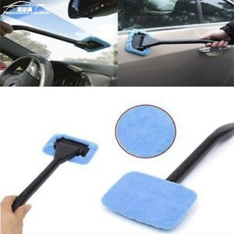 Microfiber Auto Car Window Cleaning Long Handle Car Wash Brush Dust Car Care Windshield Towel Handy Washable Car Cleaner