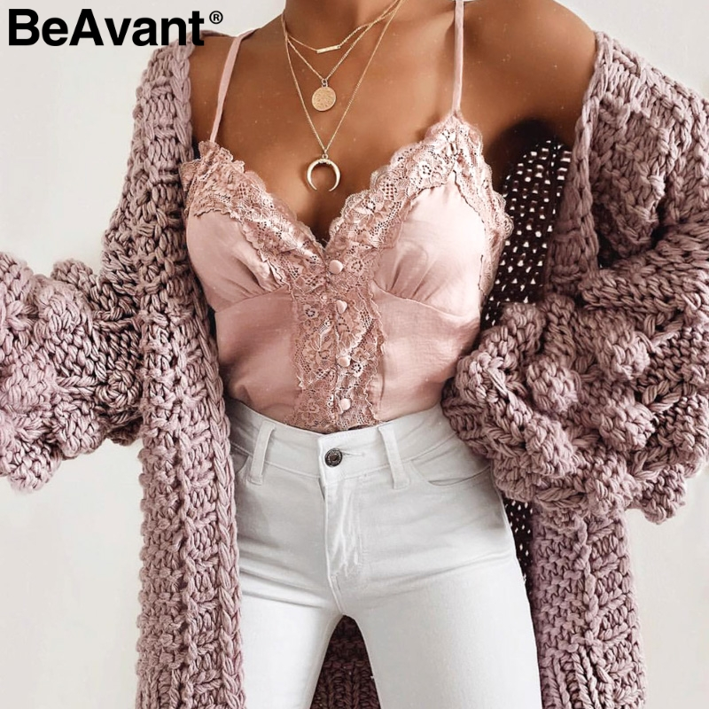 BeAvant Sexy lace women satin   top   V-neck spaghetti strap buttons ladies   tank     tops   White night club summer camisole female camis