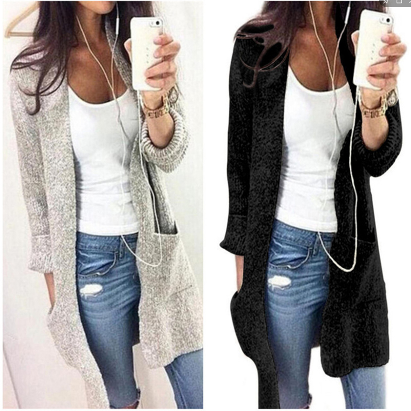 Autumn Winter Fashion Women Long Sleeve Loose Knitting Cardigan Women Knitted Female Big Pocket Pull Femme Sweater