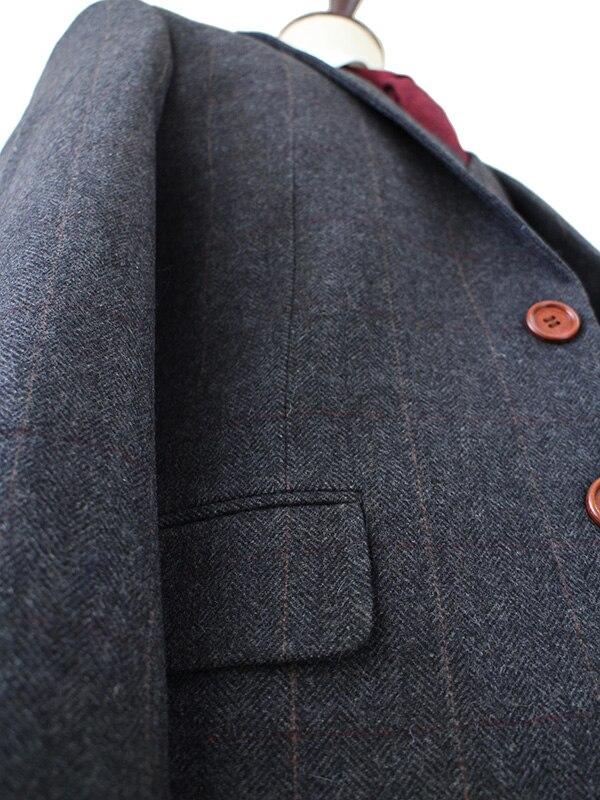 Lana gris oscuro espiga Tweed Sastre slim fit trajes de boda para hombres  Retro Caballero estilo hecho a medida hombres 3 unidades traje en Trajes a  medida ... 19a7120bd78