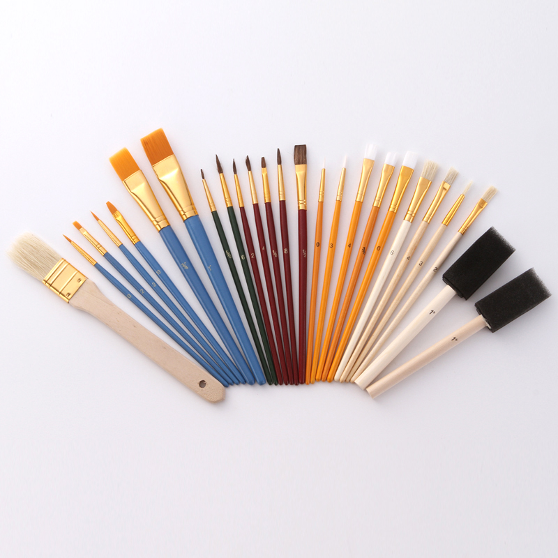 25pcs Multifunctional Paint Brush Set Nylon Hair Painting Brush Oil Acrylic Brush Watercolor Pen Art Supplies For Student