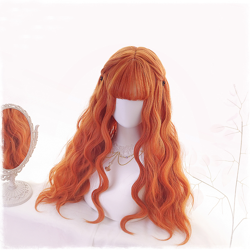 Lolita Cosplay Wig Harajuku Orange Sweet Body Wave Curly Long Synthetic Hair Bang Fringe For Adult Girls