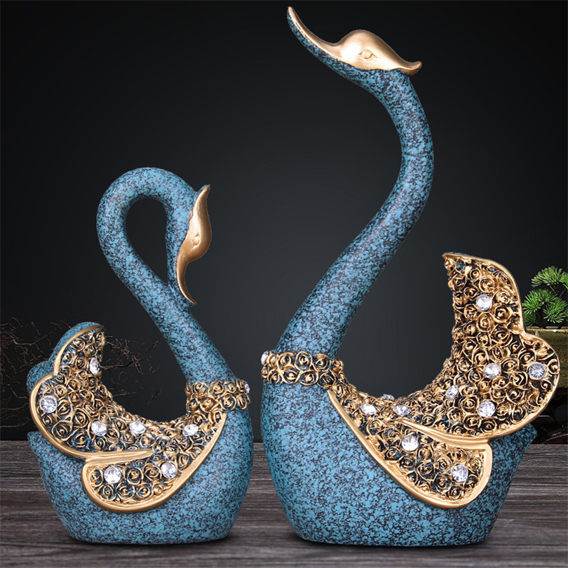 Christmas Birthday Wedding Gift A Couple of Swan Statue Bedroom Decor Accessories Ornament Resin Swan Figurines Garden Sculpture