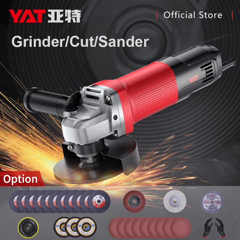 YAT 950W Angle Grinder M10 Grinding Machine Electric Grinding Machine For Wood Metal Cutting Polishing Saw Sanding Machine