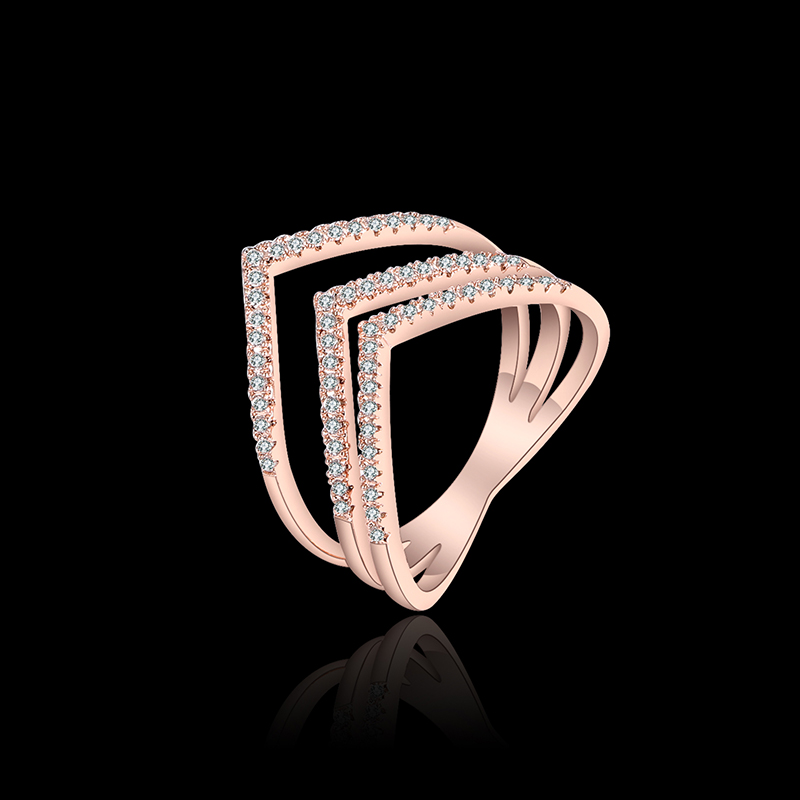 2017 New Female Wedding Bands Jewelry Rose Gold Color Engagement Ring for Women CZ Stone Paved Promise Rings