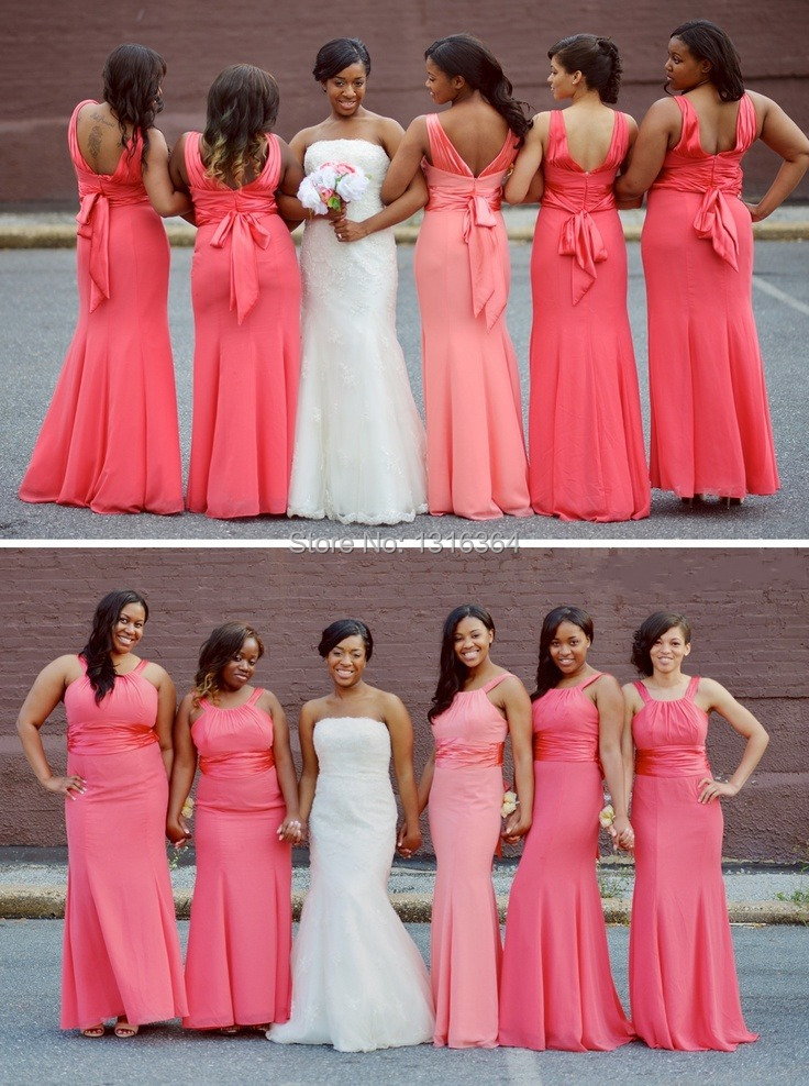 83c9b0960b7a Cheap Bridesmaid Dresses Simple Design Halter A-line Bridesmaid Dress Floor  Length Chiffon Backless Watermelon Bridesmaid Gown