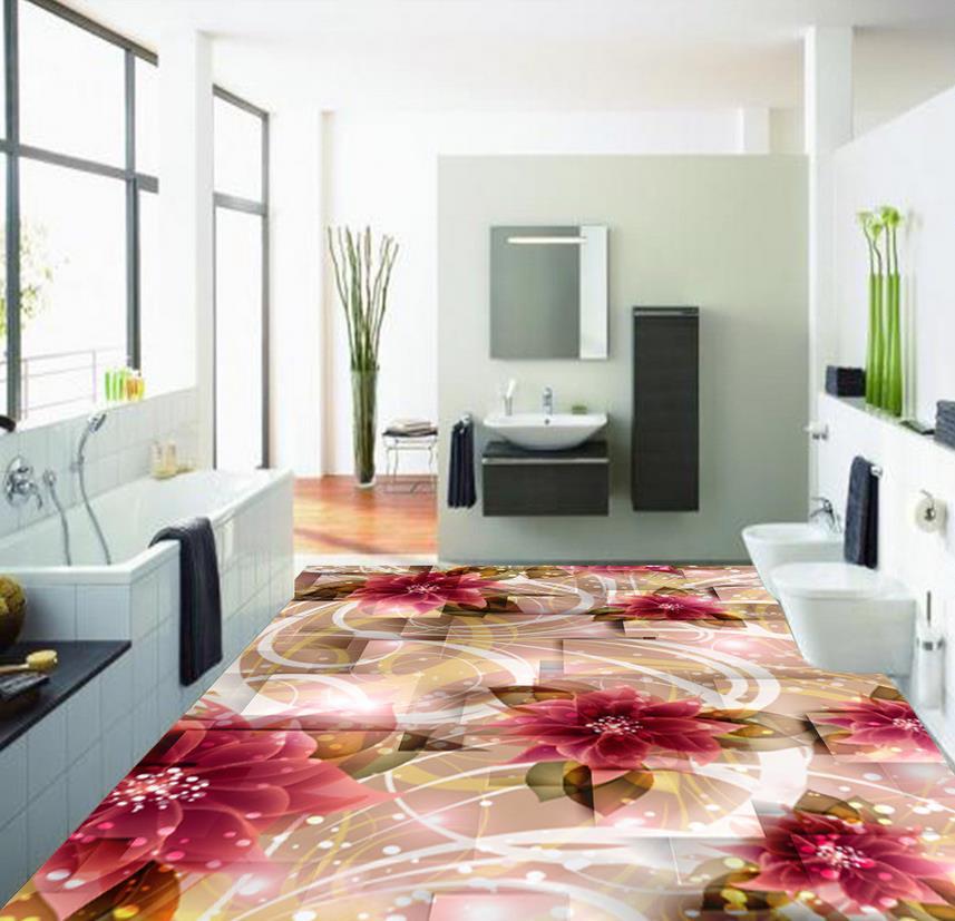 US $22.5 55% OFF Dekoration badezimmer boden wallpaper Schöne blumen 3D  bodenbelag 3d pvc tapete 3d badezimmer tapete wasserdichte-in Tapeten aus  ...