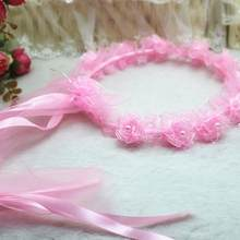 Girls Children Bridal Flower Hair Wreath With White Veil Garland Wedding Headband Crown Adjustable Lace Up Ribbon(China)