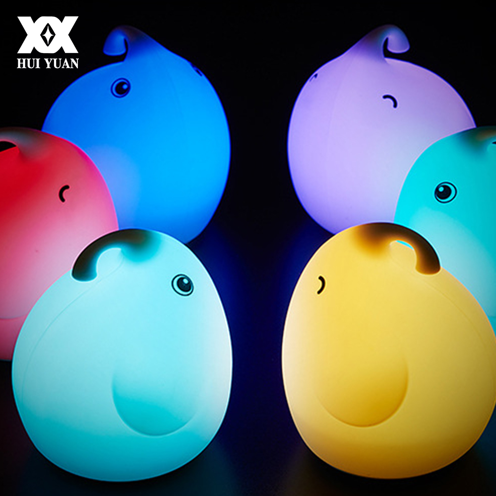 Lovely LED 3D Silicone Lamp USB Rechargable Cartoon Colorful Rabbit/Elephant Bedroom Decoration Night Light Creative Gift remote control colorful cartoon led decoration night light