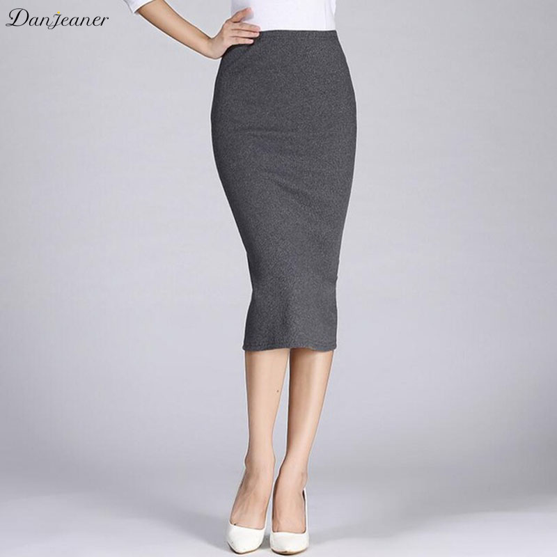 Danjeaner Women Formal Work High Wasit Knitted Cotton Pencil Skirts Elastic Solid Slim Long Skirts Split Package Hip Maxi Skits