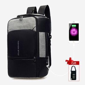 Image 3 - 17 אינץ מחשב נייד תרמיל אנטי גניבה תיק זכר גברים Bagpack USB 15.6 מחברת נסיעות עסקי תרמילי גבר עמיד למים חיצוני שקיות