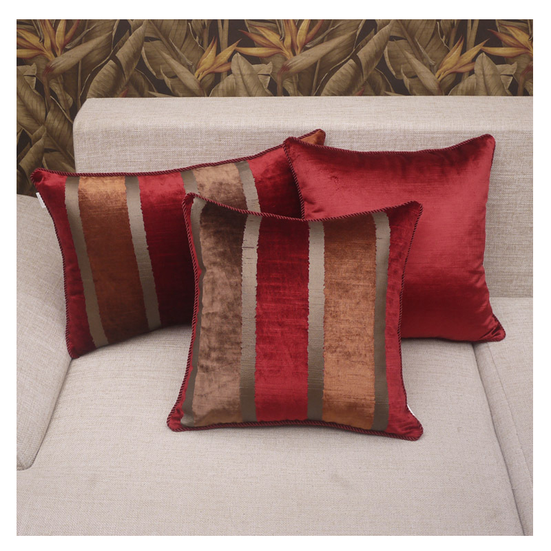 Us 17 82 33 Off Chenille Striped Cushion Cover Decorative For Sofa Car Square Throw Pillow Home Fashion Wine Red Cases Bed In