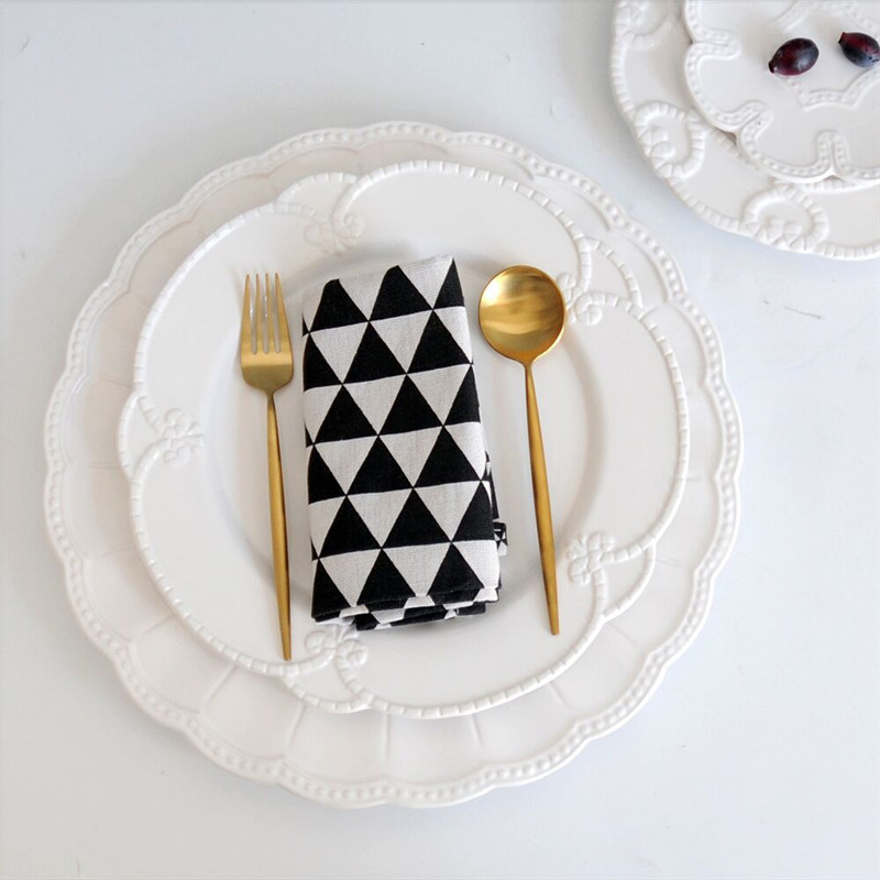 Food Tray Dessert Flat Plate Steak Dish Dinnerware Elegant Soild White Delica Basso relievo Wedding Dinner