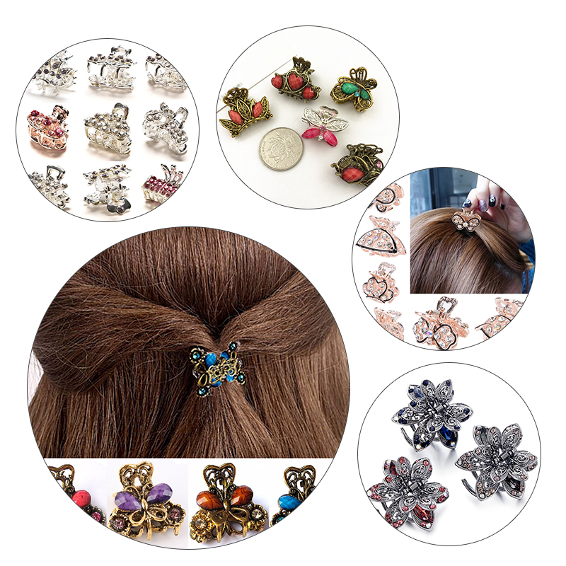 Retro Mini Butterfly Flower Hair Claw Clip Headband For Lady Girls Women Hairpin Crystal Hairpins Crab Clamp