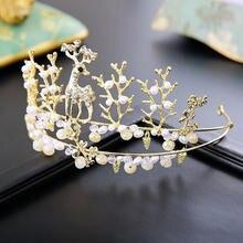 2019 Women Princess Crown Headband Crystal Rhinestone Pearl Tiara And Crowns Hair Band Jewelry Bridal Wedding Hair Accessories