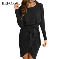 BEFORW New 2017 Autumn Winter Fashion Work Dress European Style Long Sleeved Dress Solid Color O