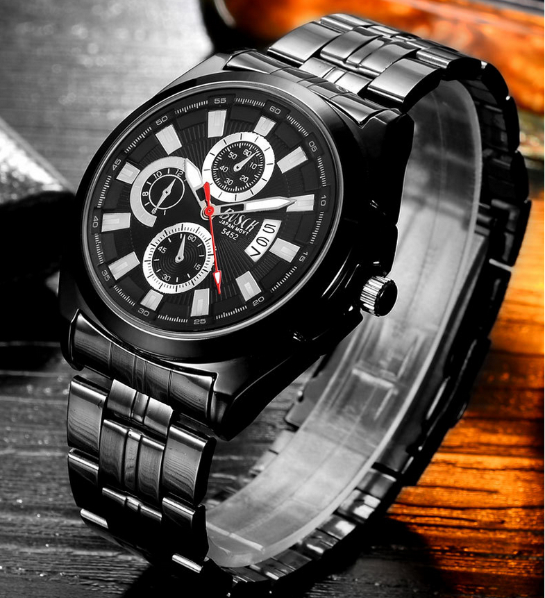 Top Brand Luxury Men Stainless Steel Waterproof Sports Watches Men's Quartz Analog Clock Male Black Strap Wrist Watch 2017 luxury brand binger date genuine steel strap waterproof casual quartz watches men sports wrist watch male luminous clock