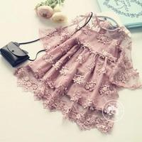2017 New Korean Children Princess Super Cents Lace Trumpet Embroidery Soft Dress Girl Dress