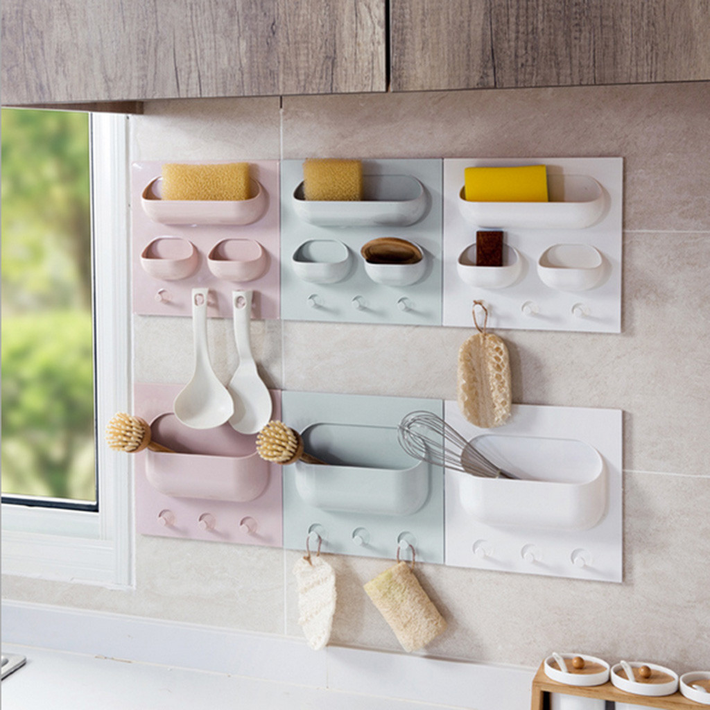 Multi-function Kitchen Strong Paste Rack Kitchen Bathroom Plastic Storage Rack Wall Mounted Kitchen Rack Space Saving Shelves