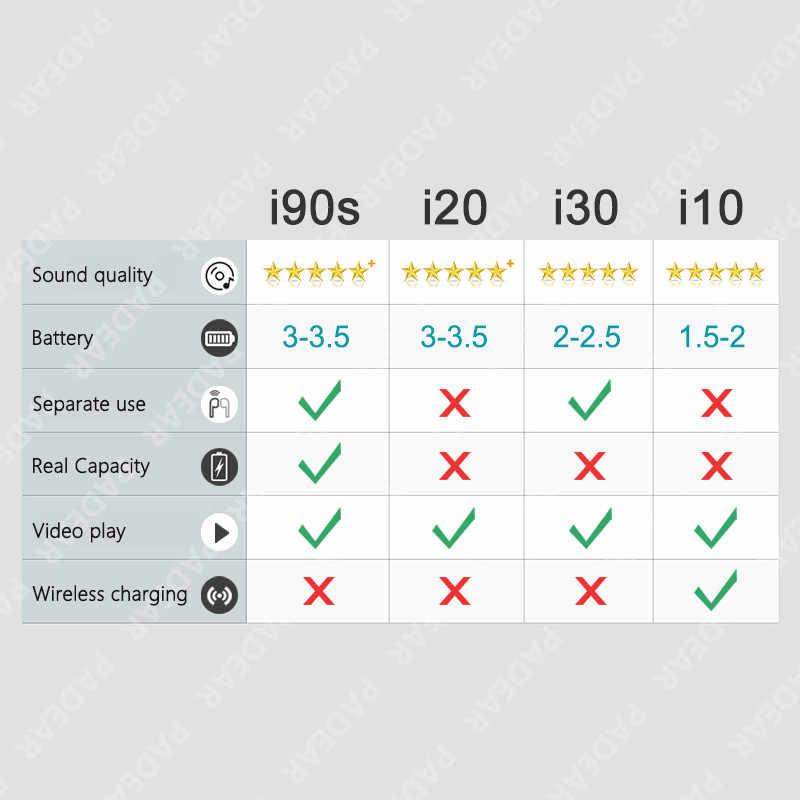 TWS i90s i90 s Pop-up 1:1 PK w1 h1 układu bezprzewodowe słuchawki słuchawki Bluetooth słuchawki douszne układu i30 i20 i12 i10 i10tws i60 i80 tw