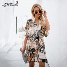 Богемное цветочное женское платье с v-образным вырезом, платье с поясом и принтом, женское летнее элегантное пляжное платье для отдыха