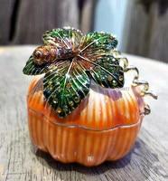 New Pumpkin Trinket Jewelry Ring Boxes Crystals Halloween Pumpkin Figurine Box Keepsake Trinket Box Miniature Pumpkin Gift Box