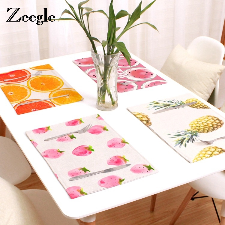 Zeegle Fruit Pattern Placemat Non-Slip Plastic Table Mat Water-proof Dining Place Mats Plate Dish Coaster Kitchen Accessories