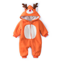 Baby Christmas Reindeer Cotton Snowsuit With Hat Newborn Baby Girl Boy Clothes Skiing Snowsuit For Boys Winter Coats And jackets(China)