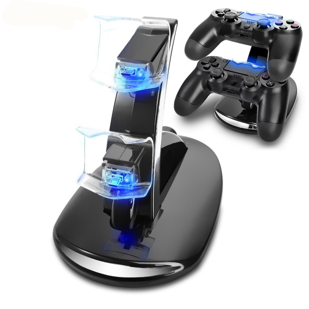 Black PS4 Dual USB Charging Dock Stand Support Holder Charger for Playstation 4 Game Wireless Controller PS4 Charger