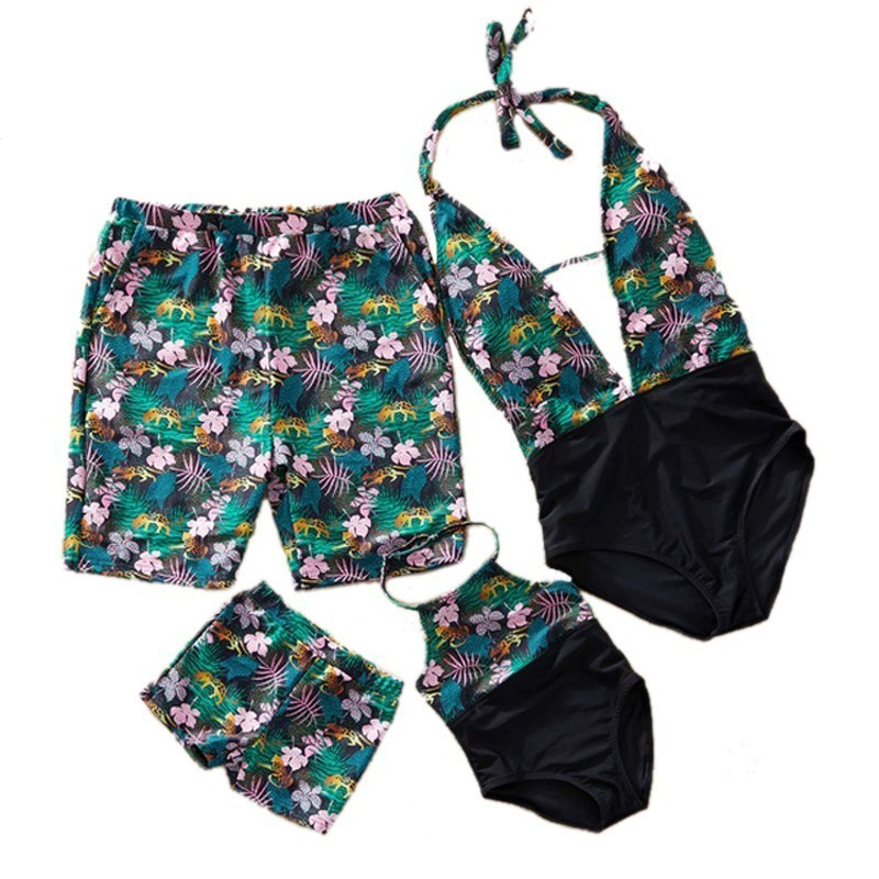 Weed Bikini Family Matching Swimwear Mother Daughter Kid Son Girl Bathing Suit Sexy Swimsuit Women One Piece Monokini Men Shorts